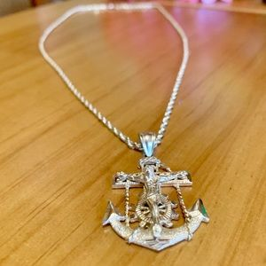 10kt Real Gold Accessories - SOLID 10kt gold Jesus crucifix Anchor Necklace
